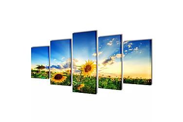 Kanvas Flerdelt Veggdekorasjon Solsikke 100x50 cm
