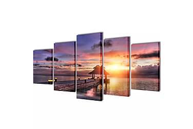 Kanvas Flerdelt Veggdekorasjon Strand med Paviljong 100x50 c