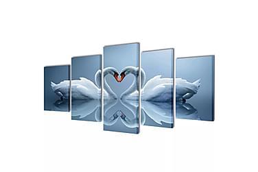 Kanvas Flerdelt Veggdekorasjon Svane 200x100 cm