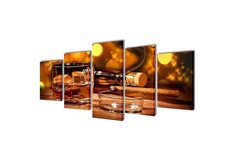Kanvas Flerdelt Veggdekorasjon Whiskey og Sigar 200x100 cm