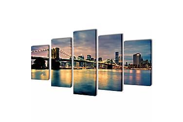 Kanvas Flerdelt Veggdekorasjon Brooklyn Bridge Elveutsikt 20
