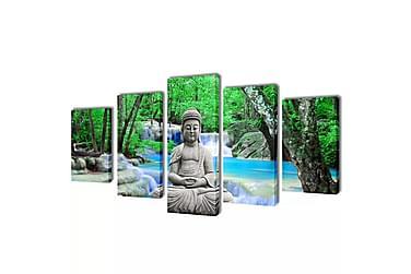 Kanvas Flerdelt Veggdekorasjon Buddha 200x100 cm