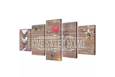 Kanvas Flerdelt Veggdekorasjon Home Sweet Home Design 100x50
