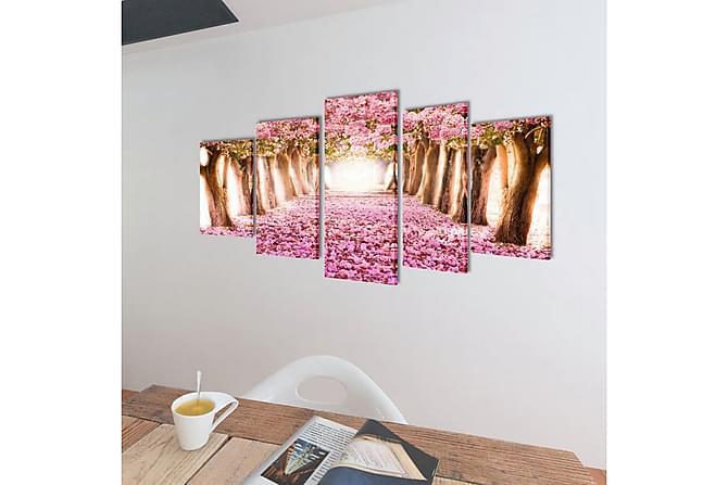 Kanvas Flerdelt Veggdekorasjon Kirsebær Blomstrer 100x50 cm - Innredning - Veggdekorasjon - Posters