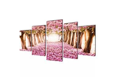 Kanvas Flerdelt Veggdekorasjon Kirsebær Blomstrer 200x100 cm