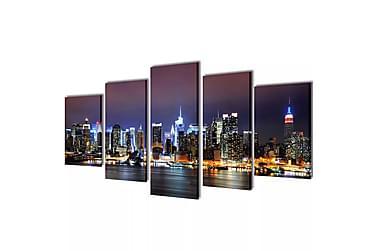 Kanvas Flerdelt Veggdekorasjon New York Horisont 200x100 cm