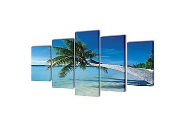 Kanvas Flerdelt Veggdekorasjon Sandstrand med Palmetre 200x1