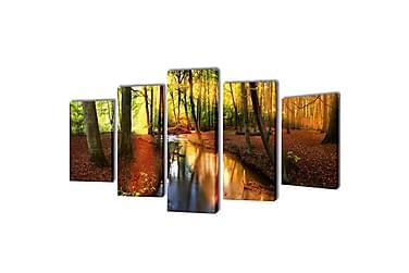 Kanvas Flerdelt Veggdekorasjon Skog 200x100 cm