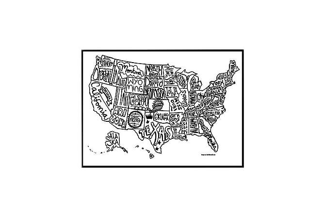 Poster USA kart - Finnes i flere størrelser - Innredning - Veggdekorasjon - Posters