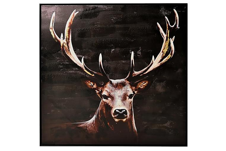 Hjort Bilde - 100x100 cm Brun/Svart - Innredning - Veggdekorasjon - Rammer