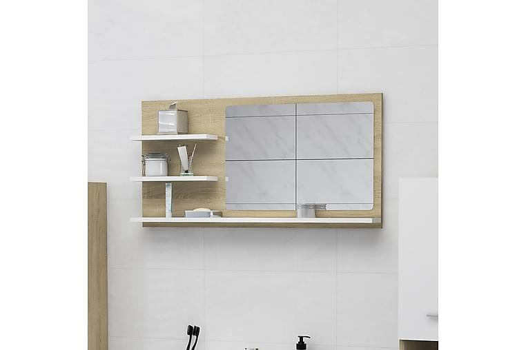 Baderomsspeil hvit og sonoma eik 90x10,5x45 cm sponplate - Beige - Innredning - Veggdekorasjon - Speil