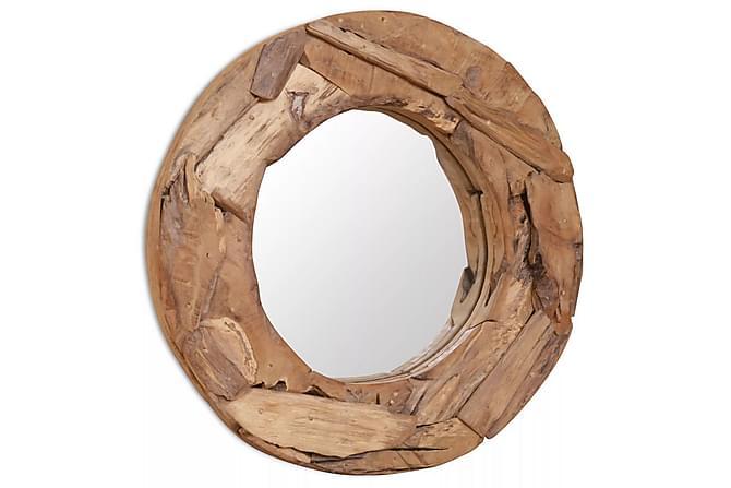 Dekorativt speil teak 60 cm rundt - Innredning - Veggdekorasjon - Speil