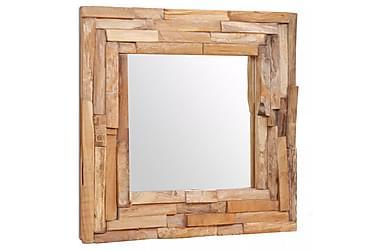 Dekorativt speil teak 60x60 cm kvadratisk