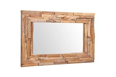 Dekorativt speil teak 90x60 cm rektangulært