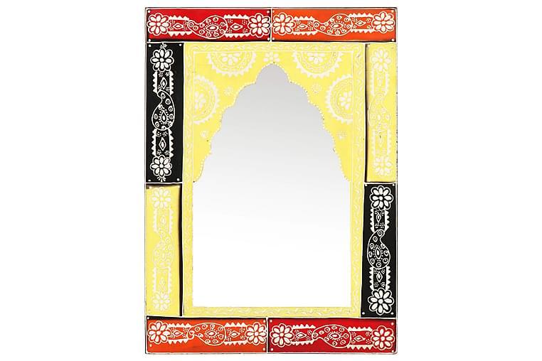 Håndmalt speil 40x55 cm heltre mango - Flerfarget - Innredning - Veggdekorasjon - Speil