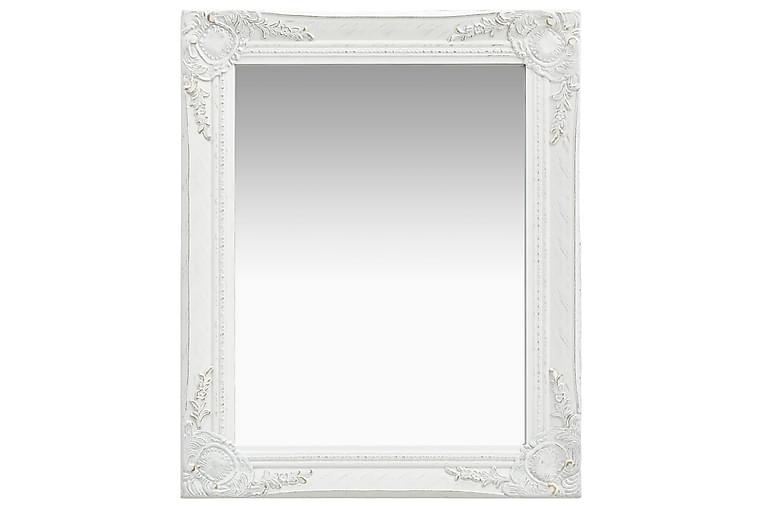 Veggspeil barokkstil 50x60 cm hvit - Innredning - Veggdekorasjon - Speil