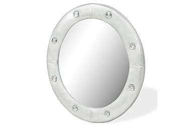 Veggspeil kunstlær 40 cm blank sølv