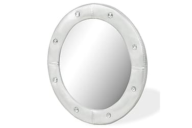 Veggspeil kunstlær 60 cm blank sølv