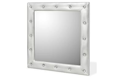 Veggspeil kunstlær 60x60 cm blank sølv