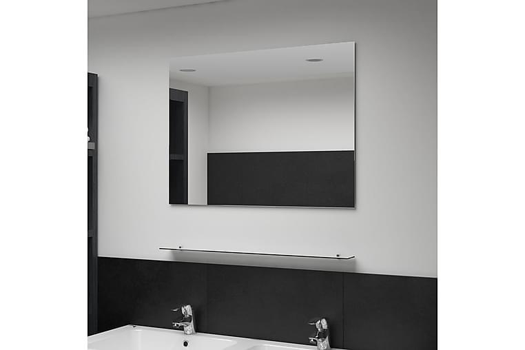 Veggspeil med hylle 80x60 cm herdet glass - Innredning - Veggdekorasjon - Speil