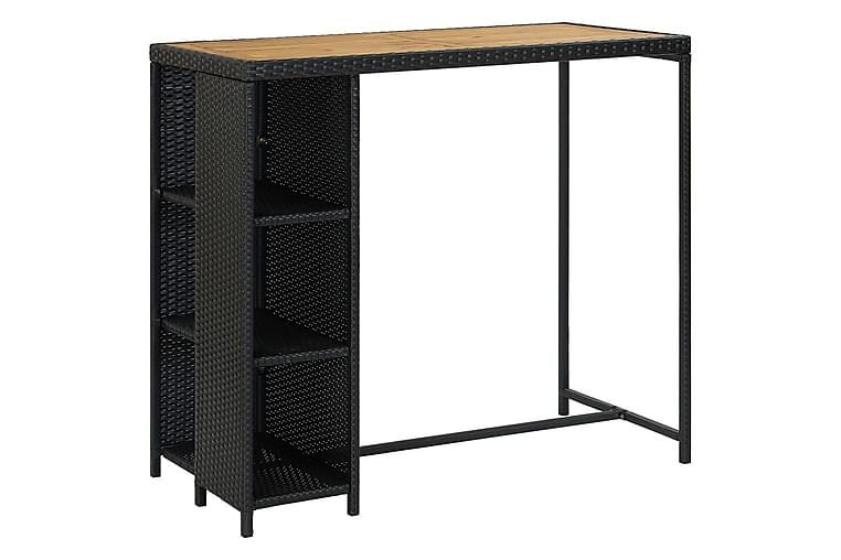 Barbord med oppbevaringsstativ 120x60x110 cm polyrotting - Svart - Møbler - Bord - Barbord & ståbord