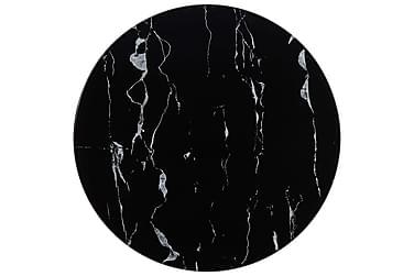 Bordplate svart Ø50 cm glass med marmortekstur