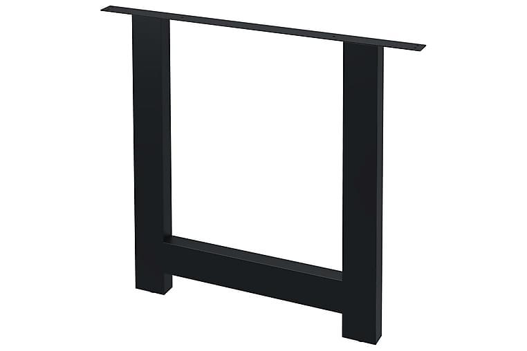 Spisebordben 2 stk H-ramme 80x72 cm - Møbler - Bord - Bordben & tilbehør