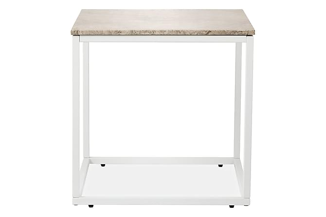 Carrie Sidebord 50 cm Marmor - Beige/Hvit - Møbler - Bord - Sengebord & nattbord