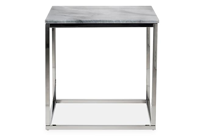 Carrie Sidebord 50 cm Marmor - Grå/Stål - Møbler - Bord - Sengebord & nattbord