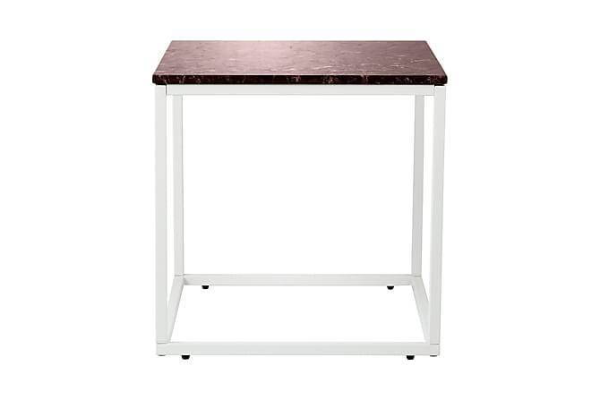 Carrie Sidebord 50 cm Marmor - Rød/Hvit - Møbler - Bord - Sengebord & nattbord