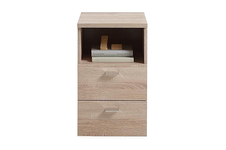 Colima Nattbord 35 cm med 2 Skuffer + Hylle - Eik - Møbler - Bord - Sengebord & nattbord