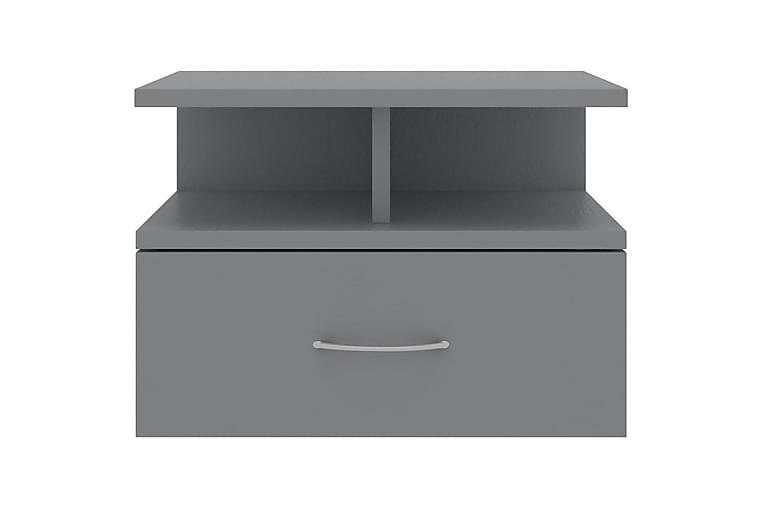 Flytende nattbord 2 stk grå 40x31x27 cm sponplate - Grå - Møbler - Bord - Sengebord & nattbord