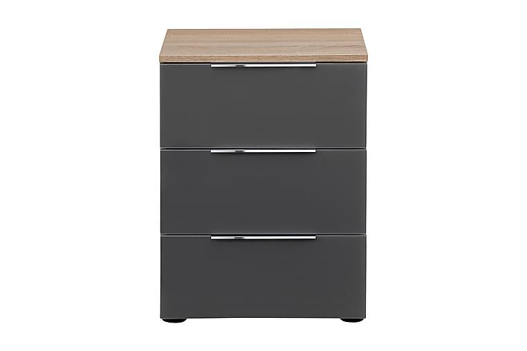 Laufeld Nattbord 45x61 cm 3 Skuffer - Lysebrun/Mørkegrå Matt - Møbler - Bord - Sengebord & nattbord
