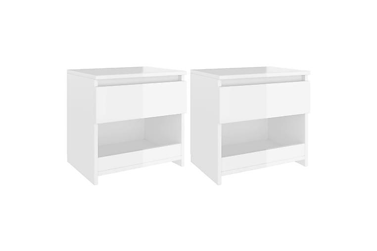 Nattbord 2 stk høyglans hvit 40x30x39 cm sponplate - Hvit - Møbler - Bord - Sengebord & nattbord