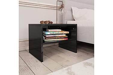 Nattbord 2 stk høyglans svart 40x30x30 cm sponplate