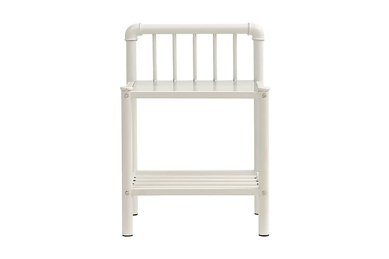 Nattbord 2 stk hvit og gjennomsiktig metall og glass - Møbler - Bord - Sengebord & nattbord