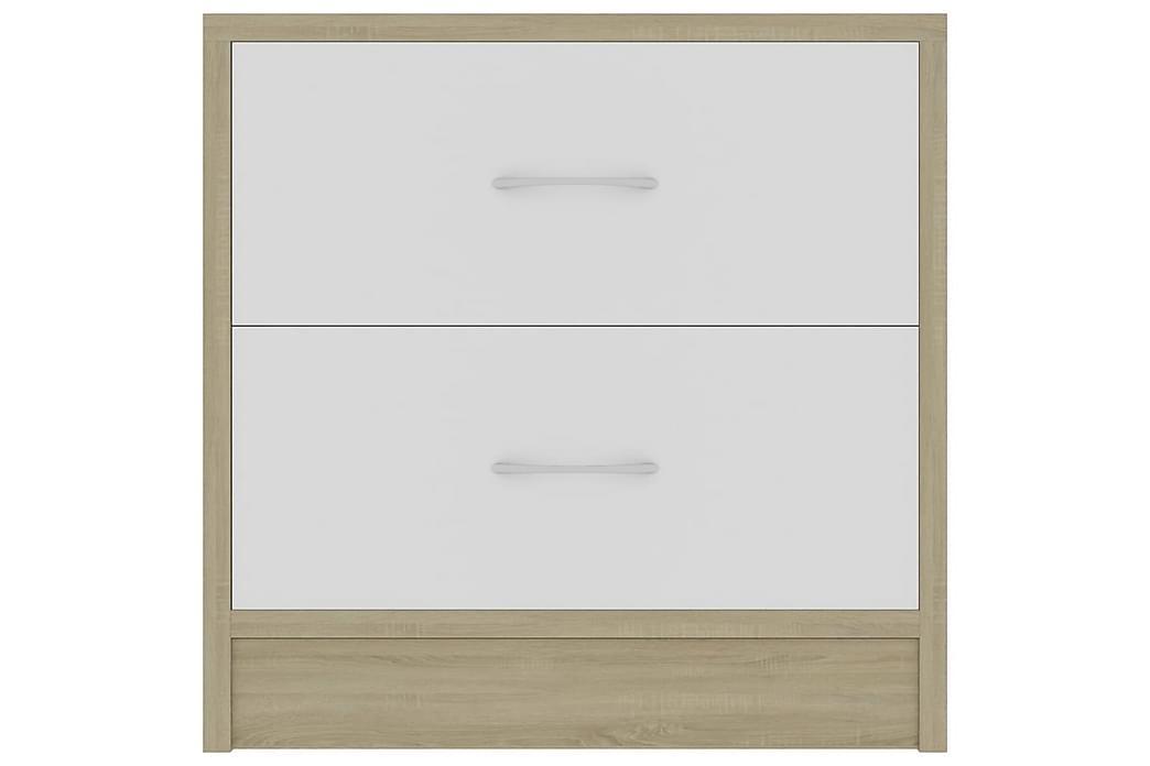 Nattbord 2 stk hvit og sonoma eik 40x30x40 cm sponplate - Beige - Møbler - Bord - Sengebord & nattbord