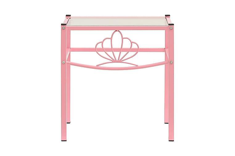 Nattbord 2 stk rosa og gjennomsiktig metall og glass - Møbler - Bord - Sengebord & nattbord
