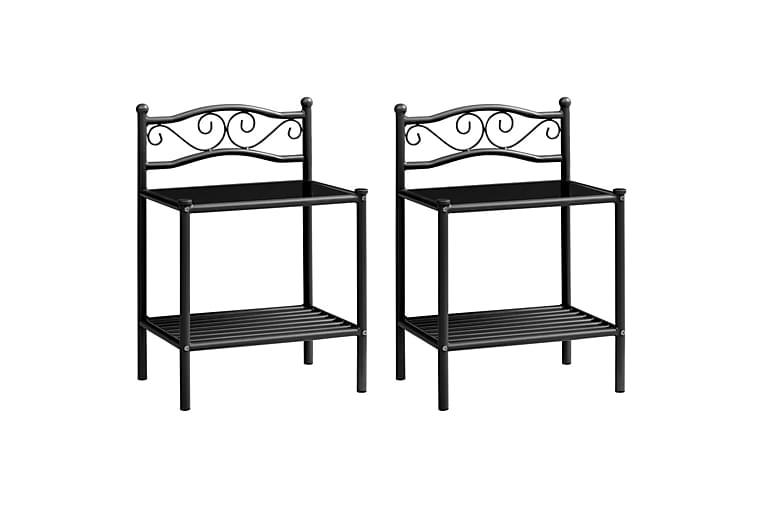 Nattbord 2 stk svart metall og glass - Møbler - Bord - Sengebord & nattbord
