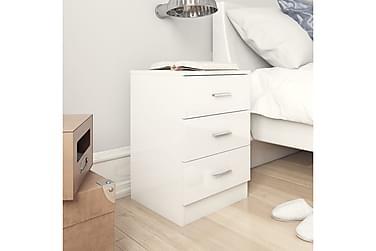 Nattbord høyglans hvit 38x35x65 cm sponplate