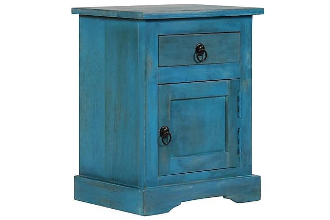Nattbord heltre mango 40x30x50 cm blå - Møbler - Bord - Sengebord & nattbord