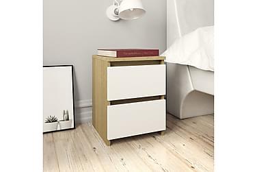 Nattbord hvit og sonoma eik 30x30x40 cm sponplate