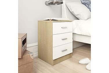Nattbord hvit og sonoma eik 38x35x65 cm sponplate