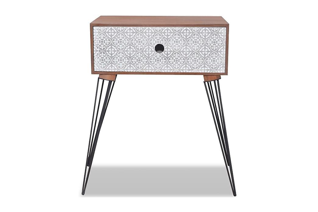 Nattbord med 1 skuff rektangulӕr brun - Brun - Møbler - Bord - Sengebord & nattbord