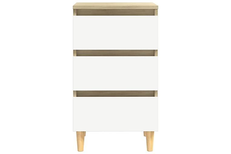 Nattbord med ben i heltre hvit og sonoma eik 40x35x69 cm - Beige - Møbler - Bord - Sengebord & nattbord