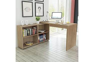 Hjørneskrivebord 4 hyller eik