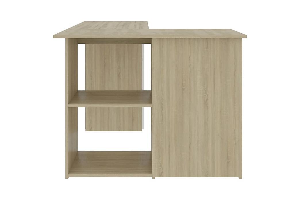 Hjørneskrivebord hvit og sonoma eik 145x100x76 cm sponplate - Beige - Møbler - Bord - Skrivebord