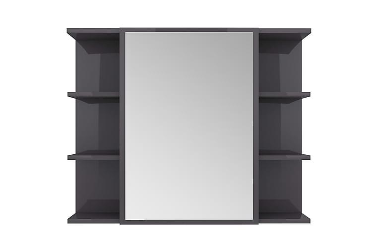 Speilskap til baderom høyglans grå 80x20,5x64 cm sponplate - Grå - Møbler - Bord - Sminkebord & toalettbord