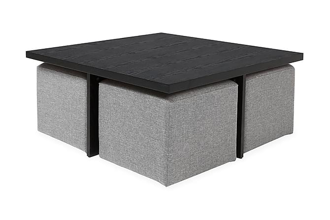 Boxy Sofabord 100 cm med 4 Puffer - Svart/Lysegrå - Møbler - Bord - Sofabord