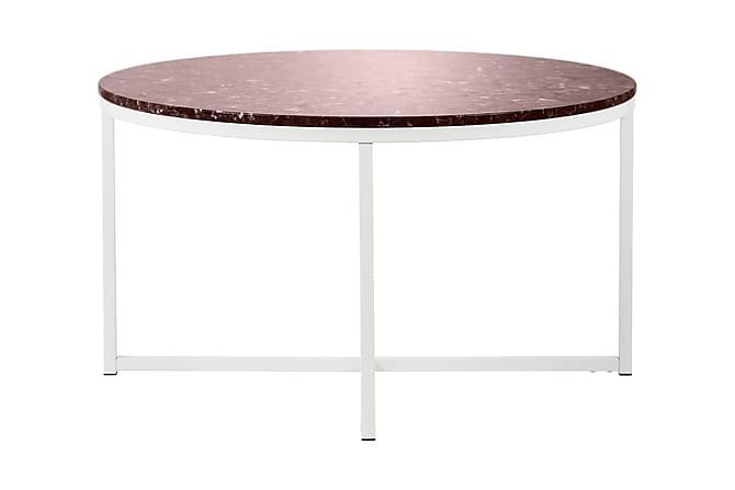 Carrie Sofabord 80 cm Marmor Rundt - Rød/Hvit - Møbler - Bord - Sofabord